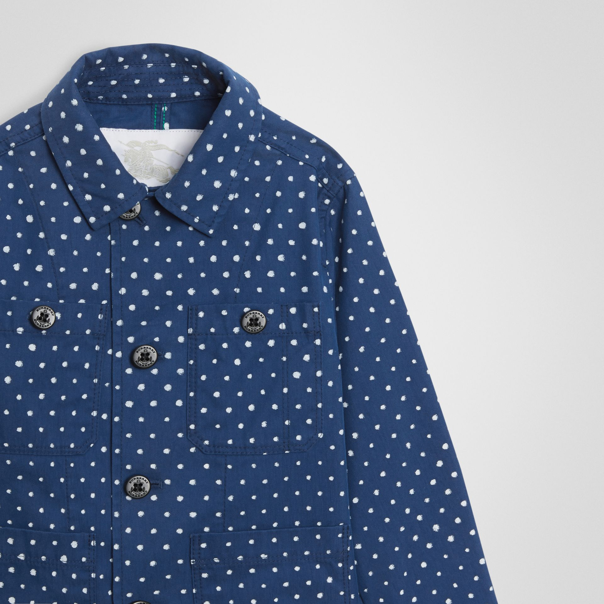 Spot Print Cotton Blend Jacket in Bright Navy - Children | Burberry - gallery image 4