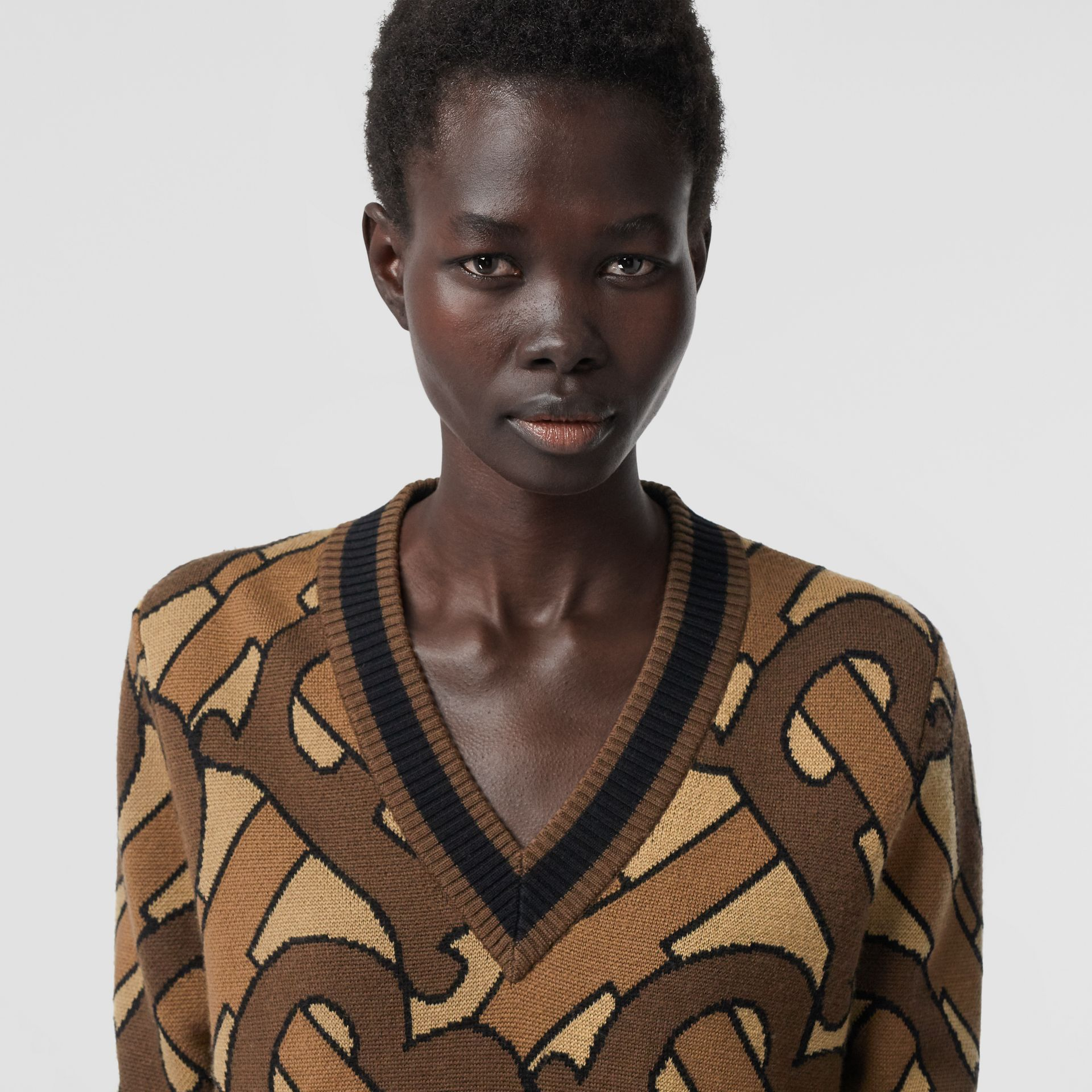 Monogram Intarsia Wool V-neck Sweater in Bridle Brown - Women | Burberry - gallery image 1
