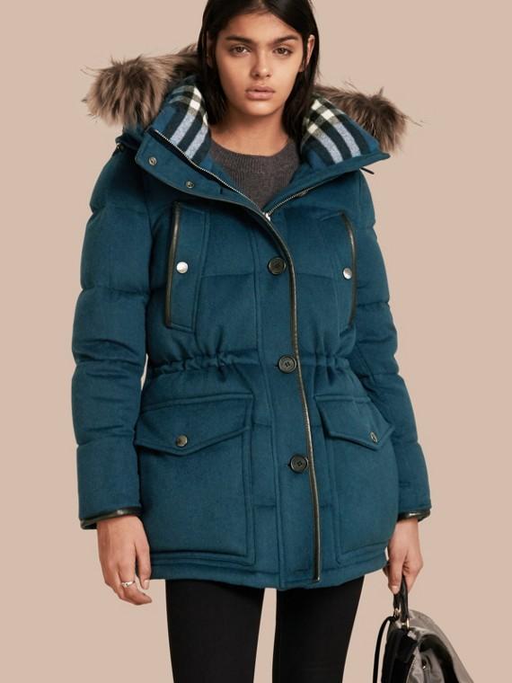 Down-filled Cashmere Coat with Detachable Fur Trim