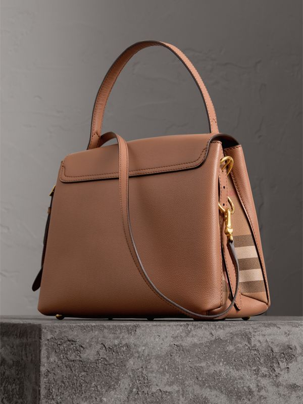 Small Grainy Leather and House Check Tote Bag in Dark Sand - Women | Burberry Singapore - cell image 2