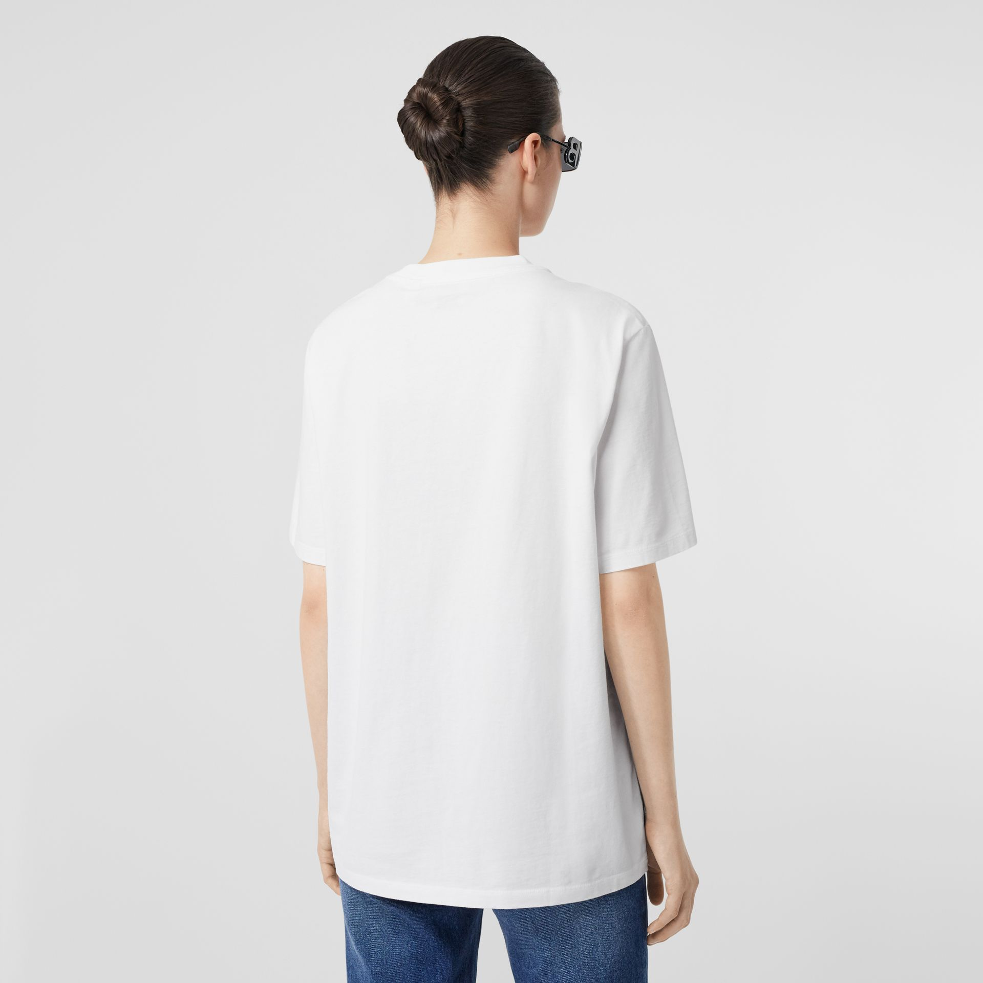 Embroidered Archive Logo Cotton T-shirt in White - Women | Burberry Hong Kong S.A.R - gallery image 2