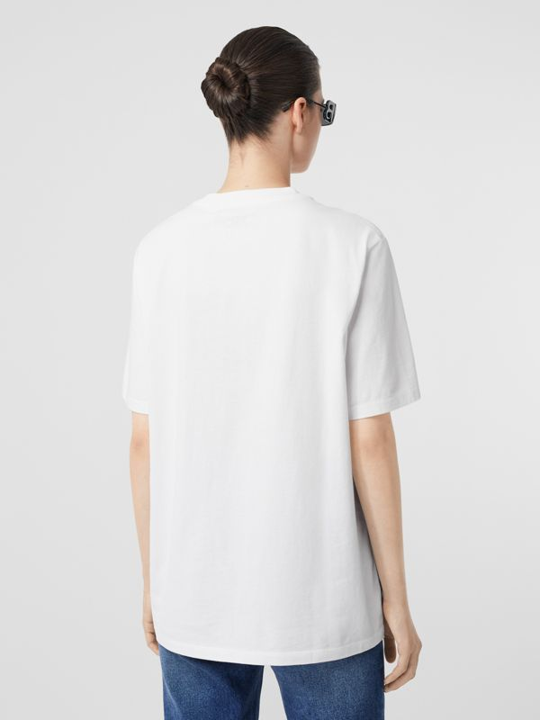 Embroidered Archive Logo Cotton T-shirt in White - Women | Burberry Hong Kong S.A.R - cell image 2