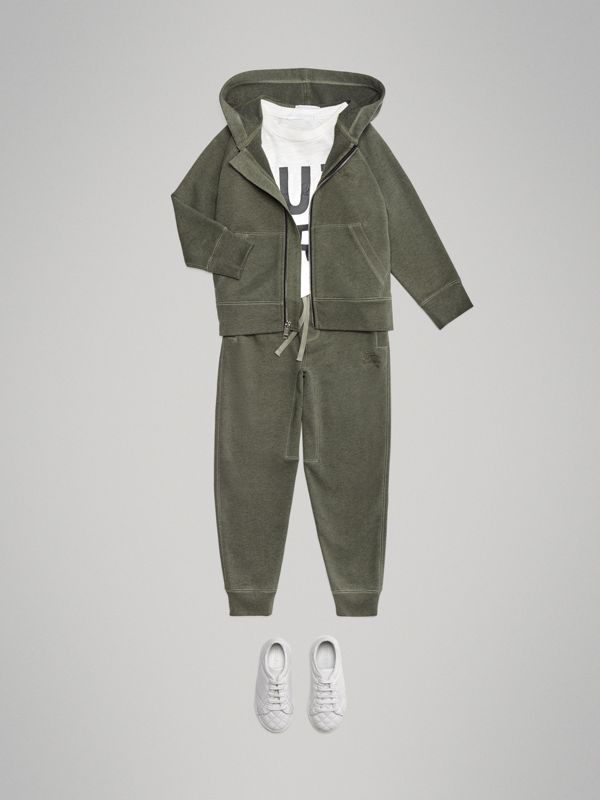 Cotton Jersey Trackpants in Olive Melange | Burberry - cell image 2