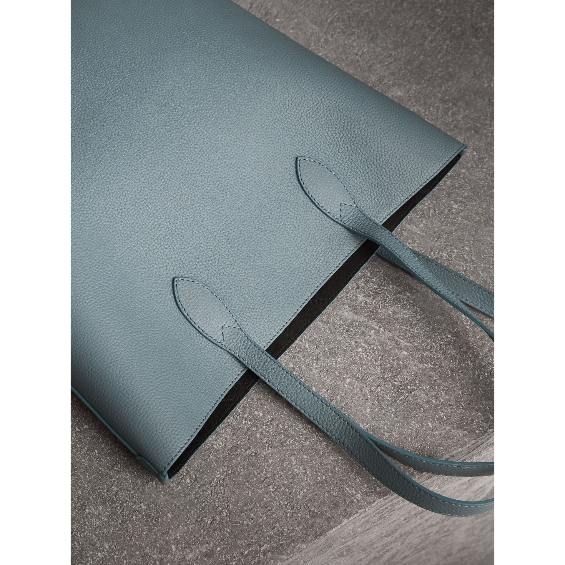 Medium Embossed Leather Tote in Dusty Teal Blue | Burberry - gallery image 5