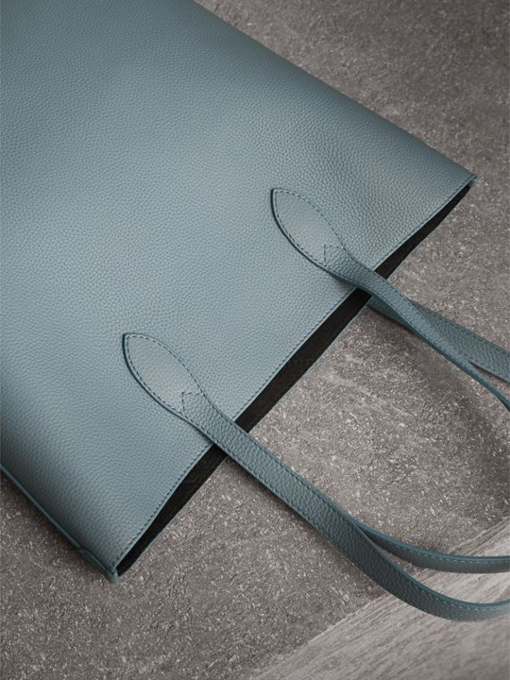 Medium Embossed Leather Tote in Dusty Teal Blue | Burberry - cell image 2