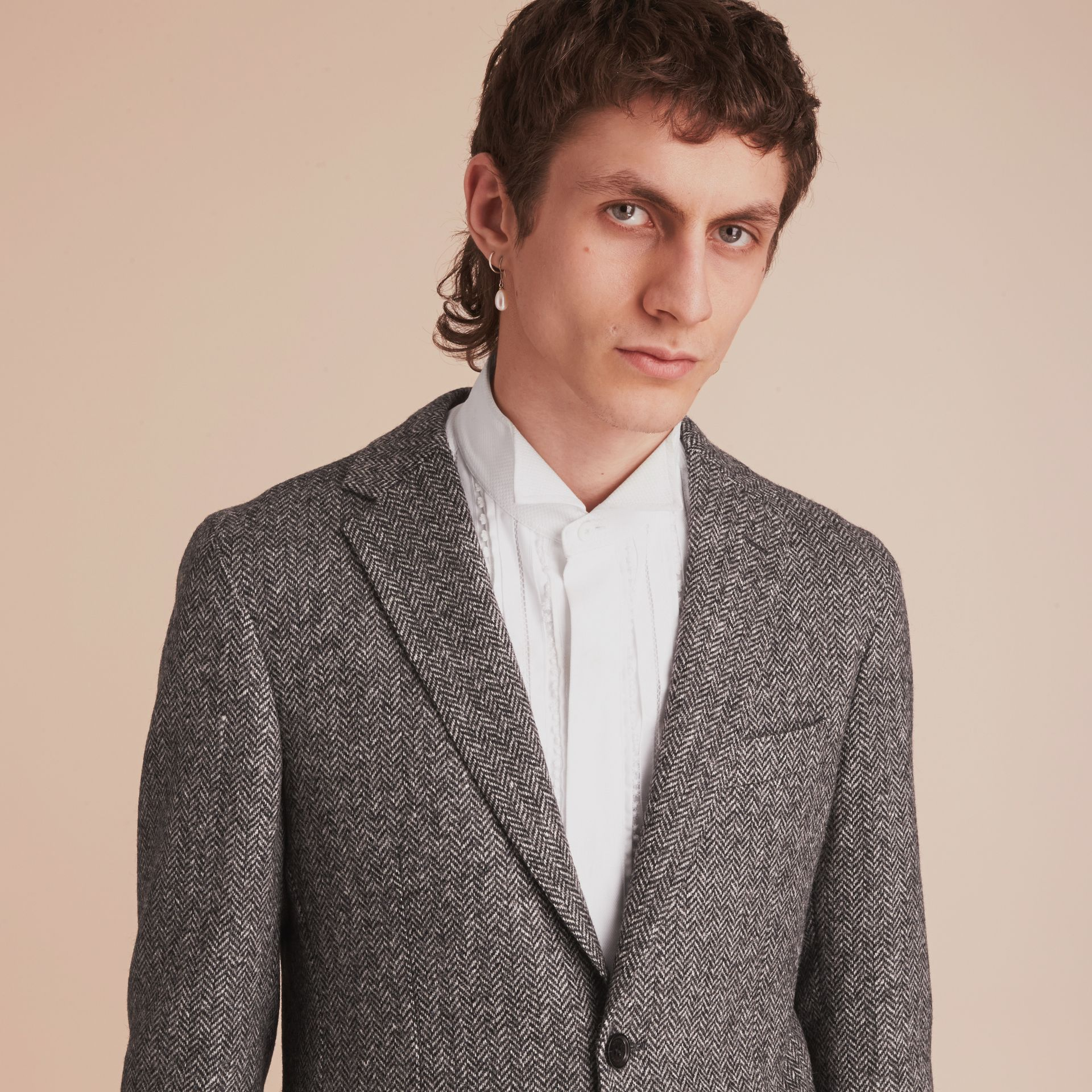 Slim Fit Herringbone Wool Tailored Jacket - gallery image 5