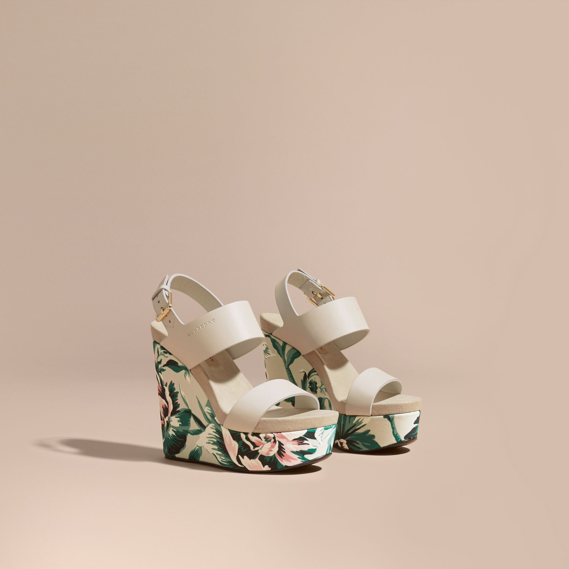 Peony Rose Print Leather Platform Wedges Emerald Green - gallery image 1