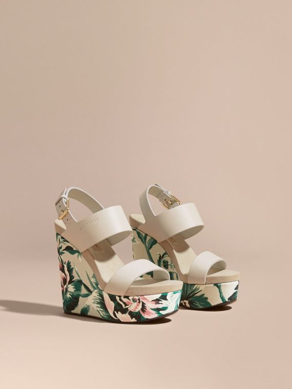 Peony Rose Print Leather Platform Wedges in Emerald Green