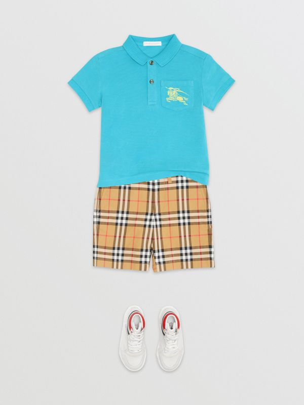 EKD Logo Cotton Piqué Polo Shirt in Bright Cyan Blue | Burberry - cell image 2