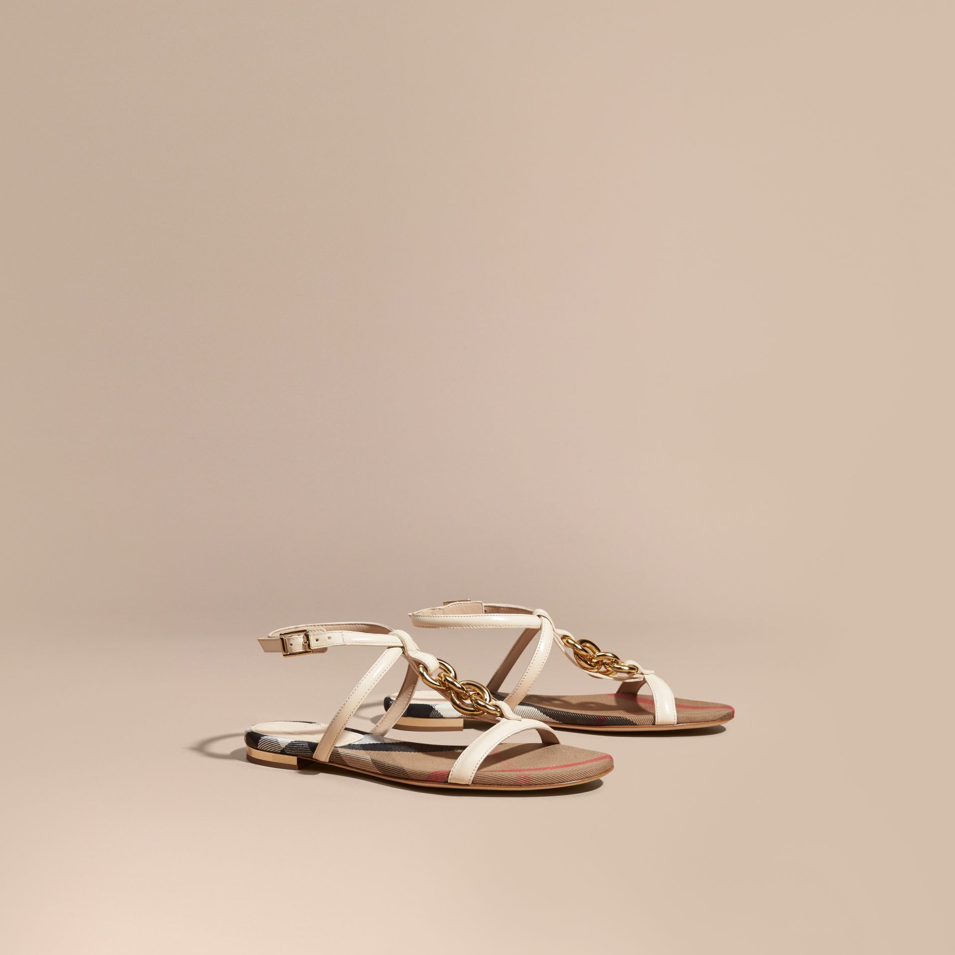Cream Chain Detail Leather Sandals Cream - gallery image 1