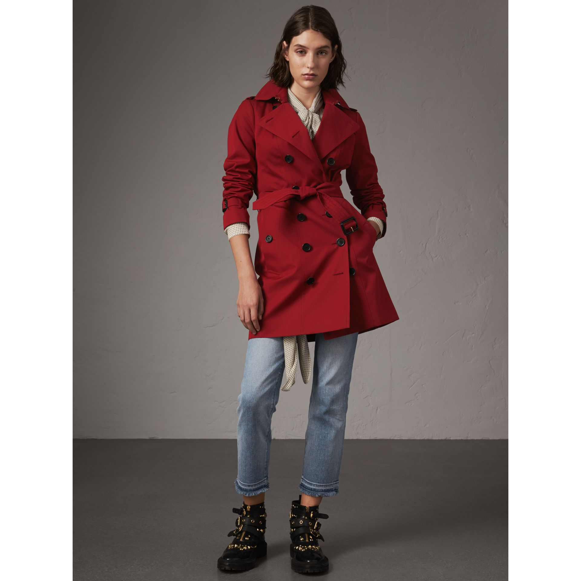 The Sandringham – Mid-length Heritage Trench Coat in Parade Red - Women | Burberry - gallery image 8