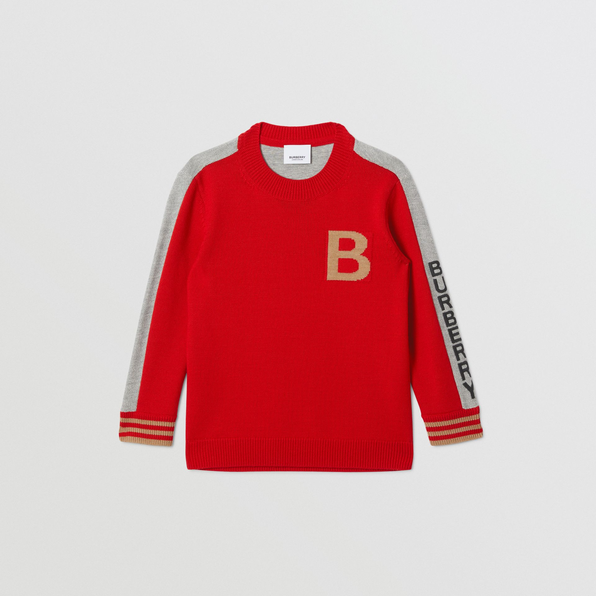 B Motif Merino Wool Jacquard Sweater in Bright Red | Burberry Australia - gallery image 0
