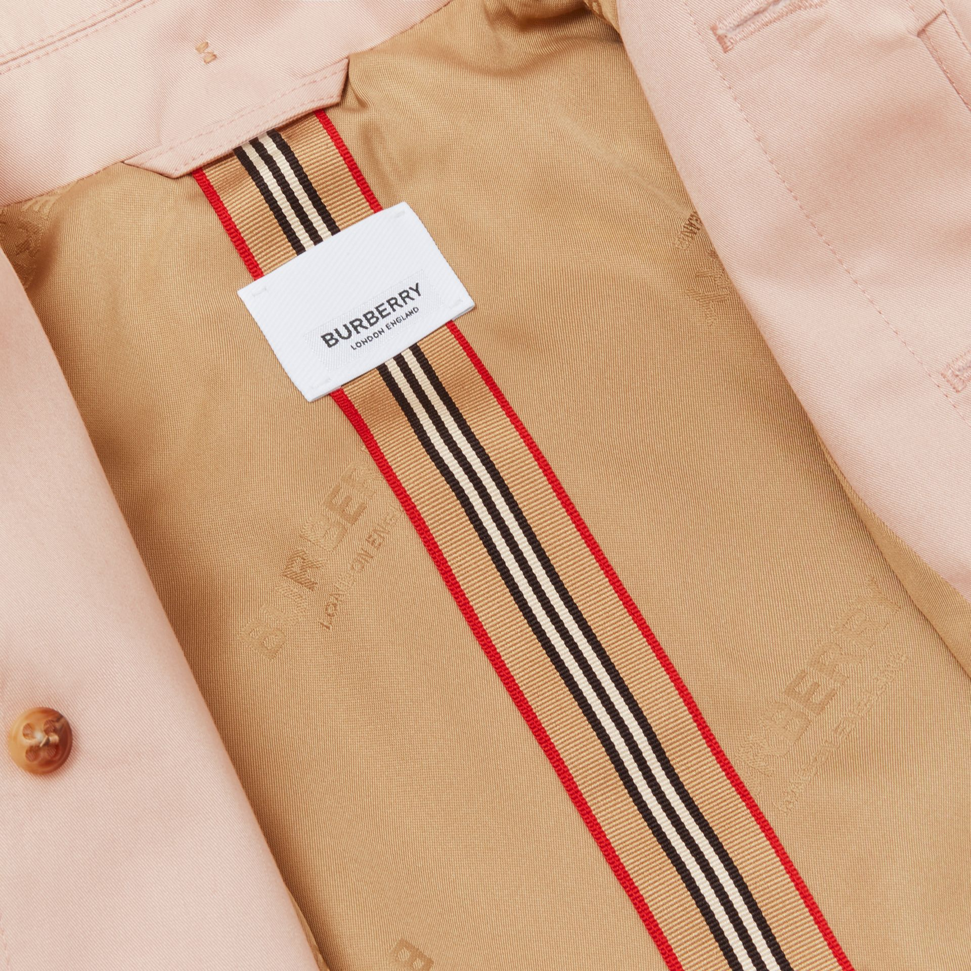 Detachable Hood Cotton Twill Car Coat in Ice Pink - Children | Burberry - gallery image 5