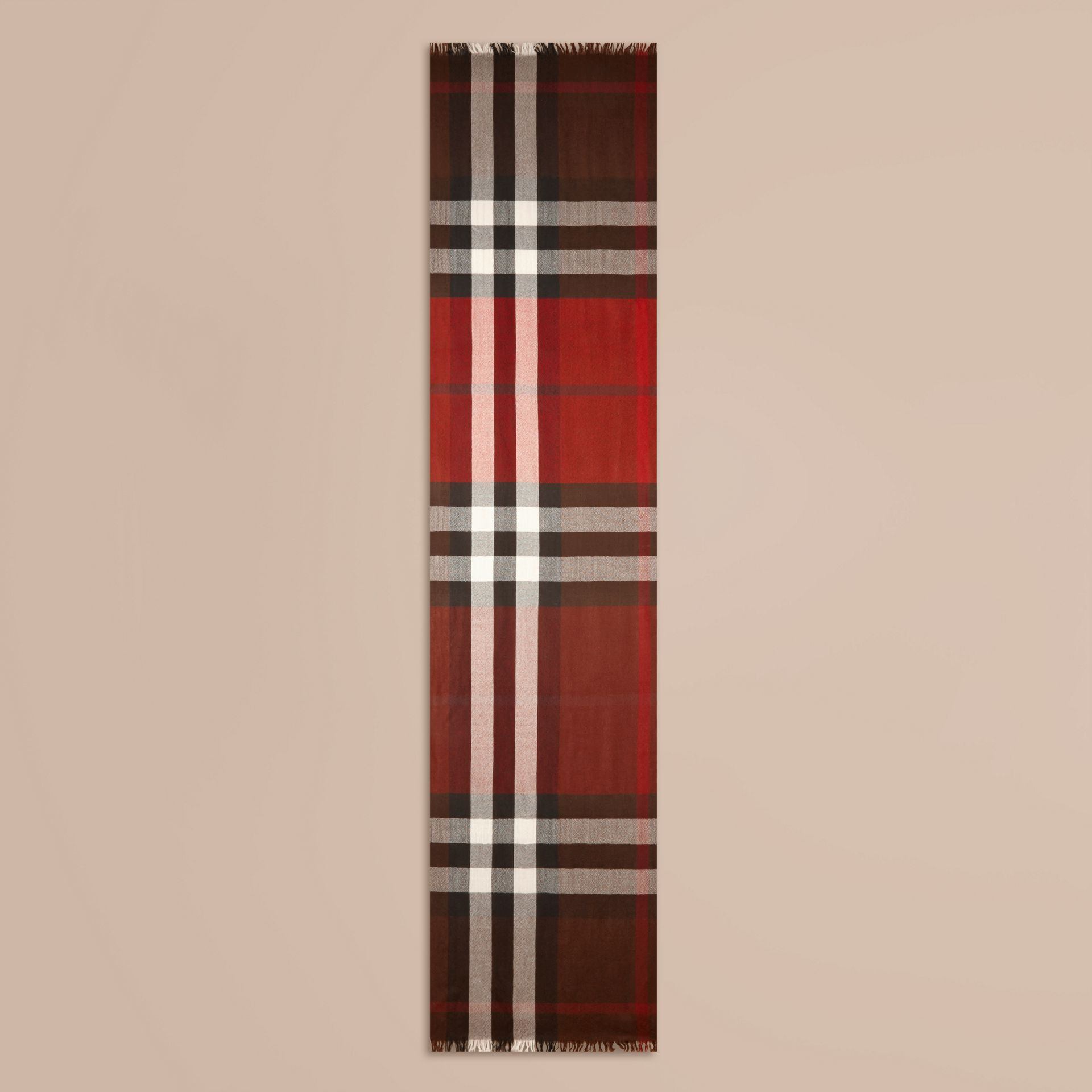 Claret Lightweight Check Wool Cashmere Scarf Claret - gallery image 4