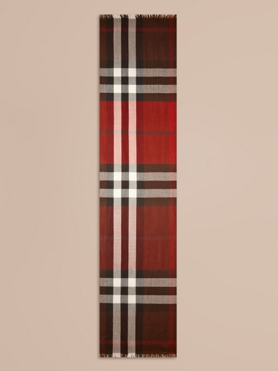 Claret Lightweight Check Wool Cashmere Scarf Claret - cell image 3