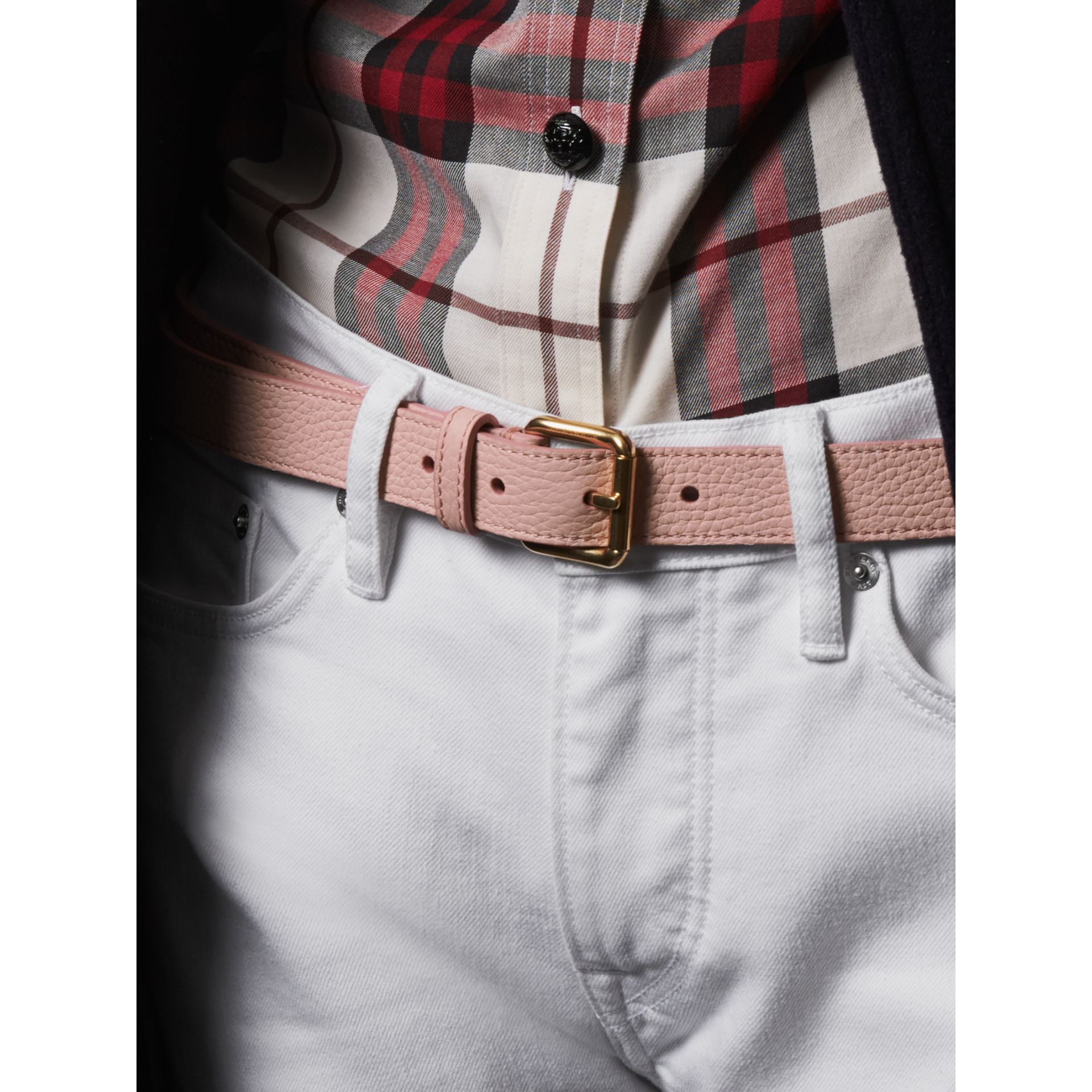 Embossed Leather Belt in Pale Ash Rose - Women | Burberry - gallery image 3