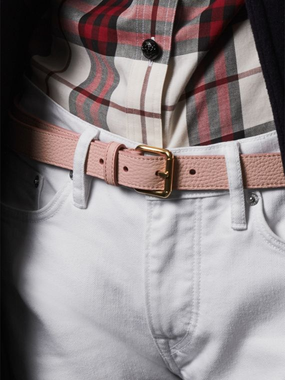 Embossed Leather Belt in Pale Ash Rose - Women | Burberry United Kingdom - cell image 2