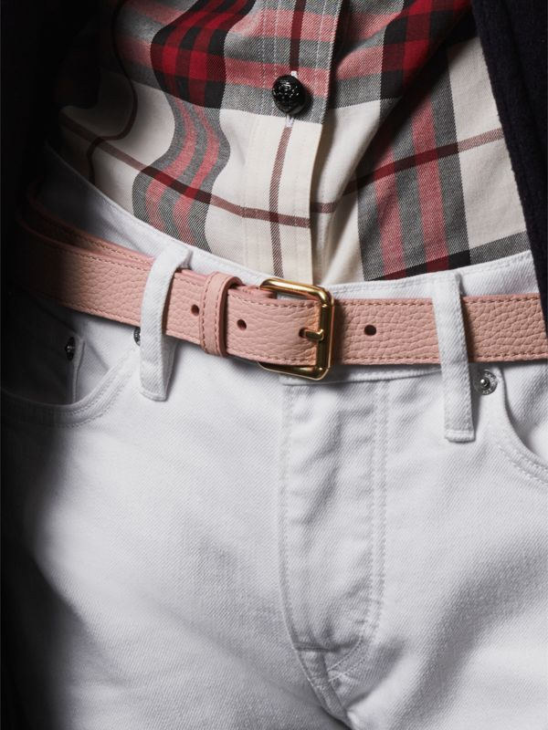 Embossed Leather Belt in Pale Ash Rose - Women | Burberry - cell image 2
