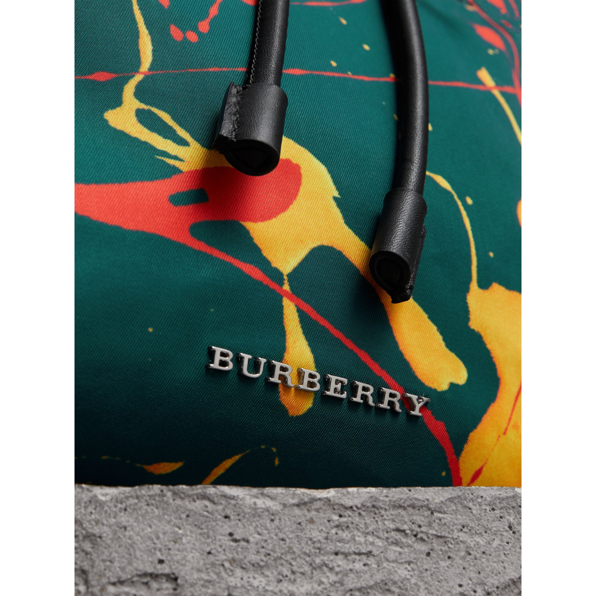 The Large Rucksack in Splash Print in Dark Teal - Men | Burberry Australia - gallery image 1