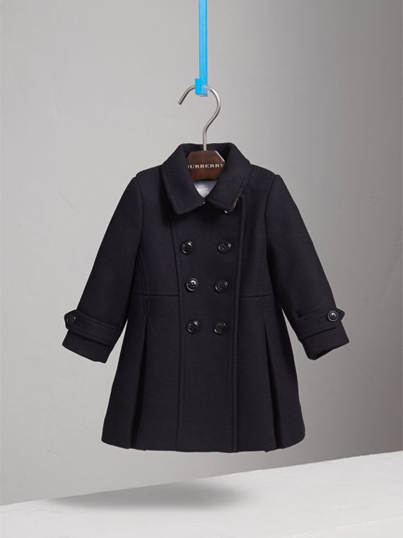 Wool Cashmere Blend Twill Tailored Coat in Navy | Burberry Singapore - cell image 2
