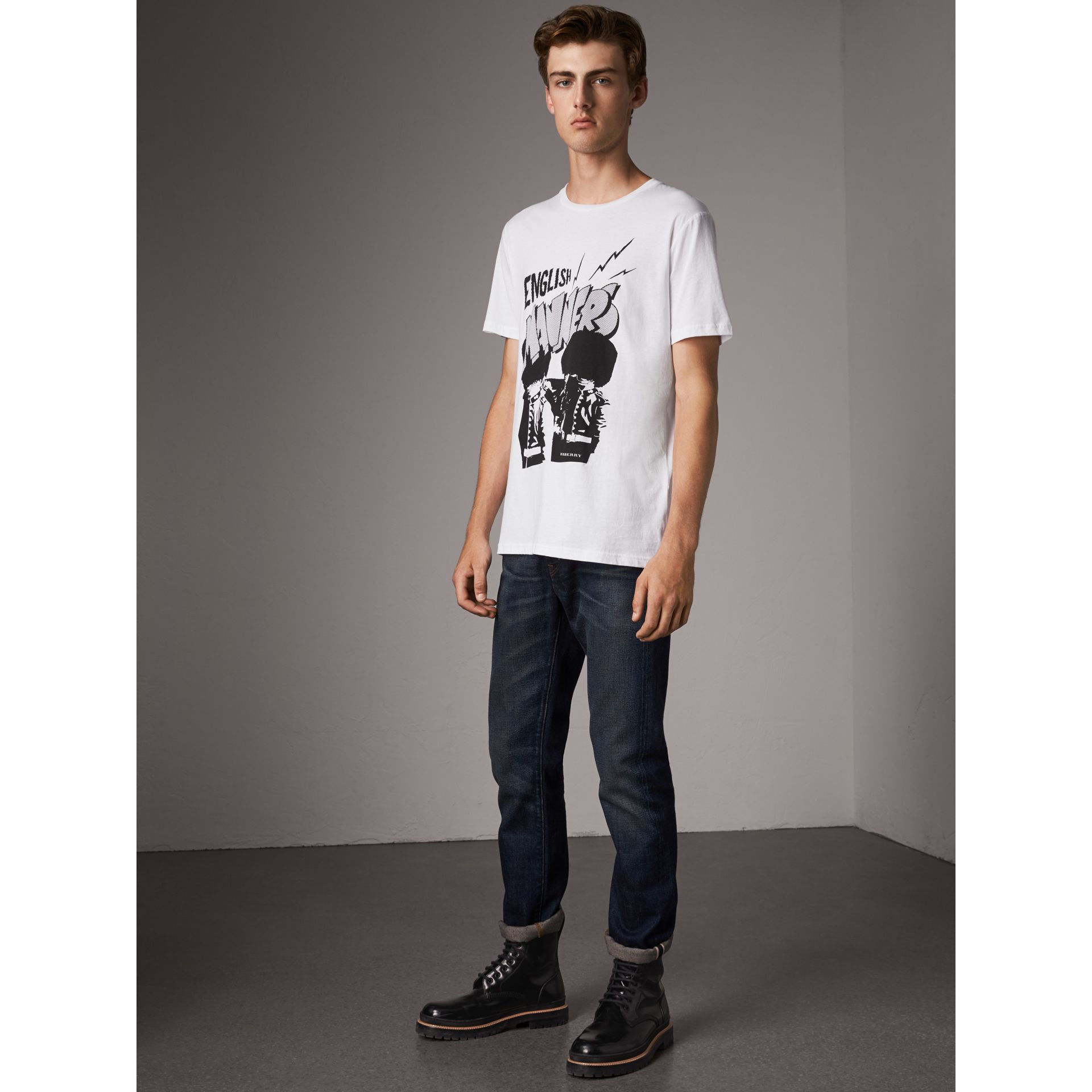 London Icons Print Cotton T-shirt in White - Men | Burberry - gallery image 5