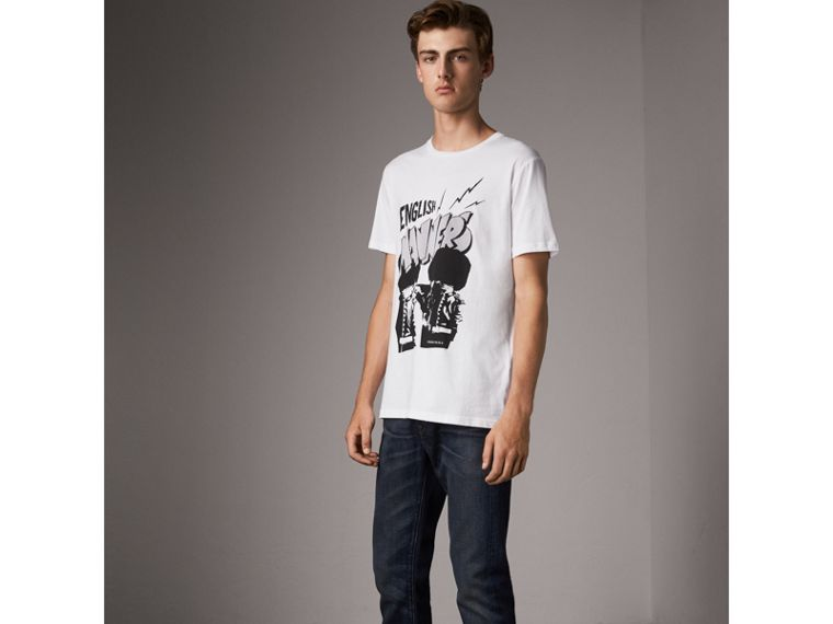 London Icons Print Cotton T-shirt in White - Men | Burberry - cell image 4