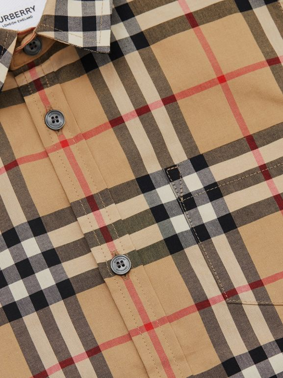Short-sleeve Vintage Check Cotton Shirt in Archive Beige | Burberry - cell image 1