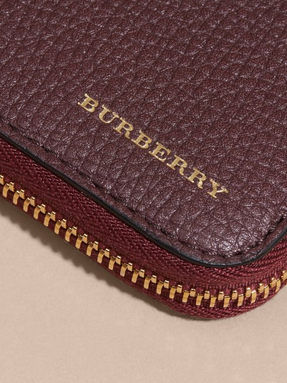 House Check and Grainy Leather Ziparound Wallet in Wine | Burberry - cell image 3