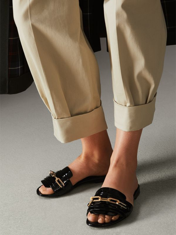 Link Detail Patent Leather Slides in Black - Women | Burberry United States - cell image 2