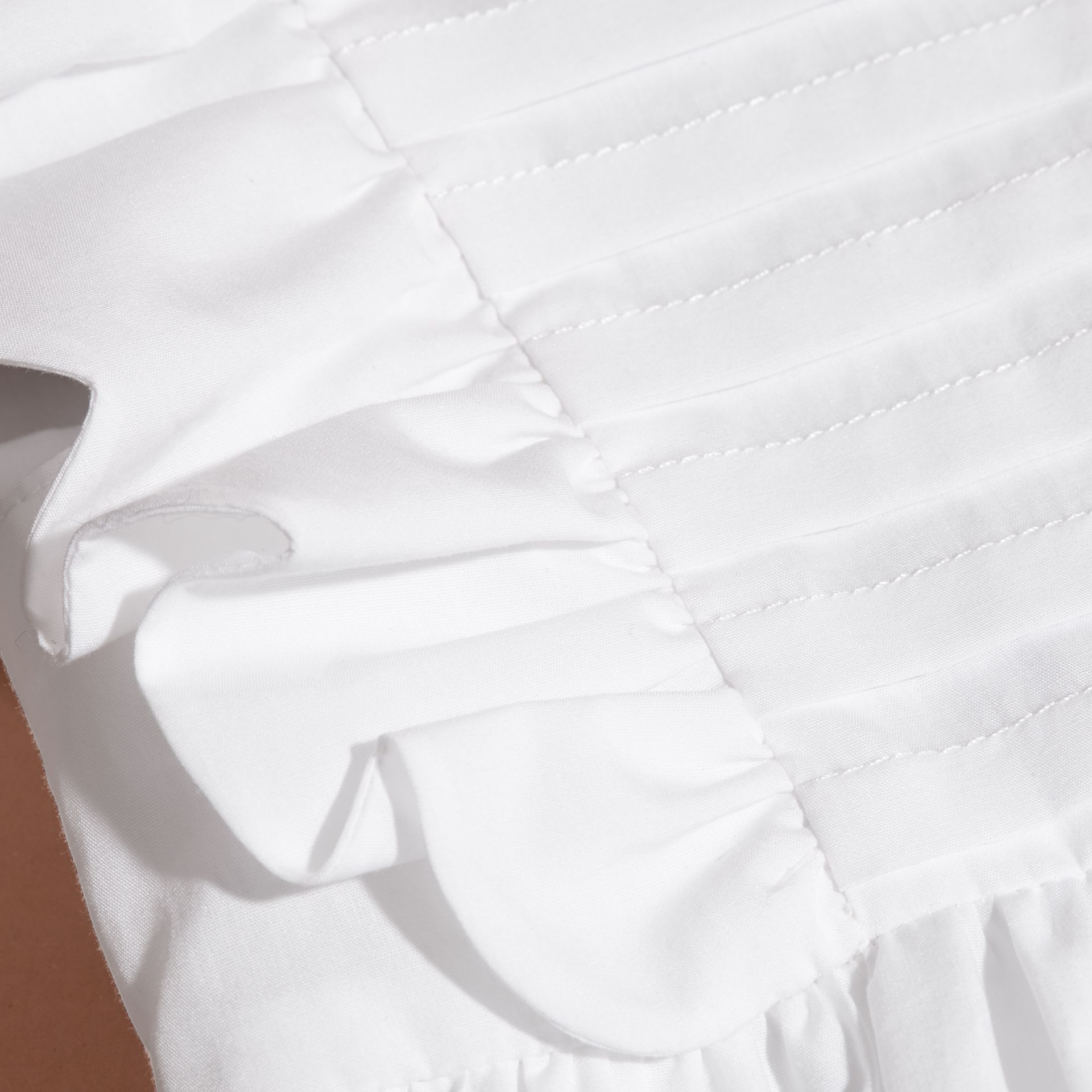 Ruffle and Pleat Detail Cotton Dress in White | Burberry - gallery image 2
