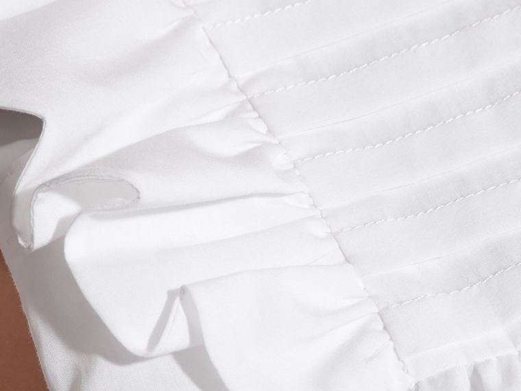 Ruffle and Pleat Detail Cotton Dress in White | Burberry - cell image 1