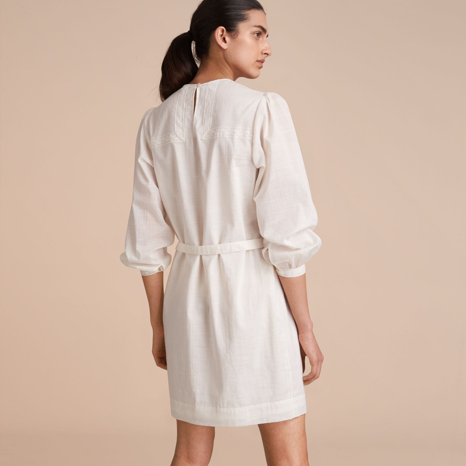Pintuck and Lace Detail Cotton Dress in Natural White - Women | Burberry - gallery image 3