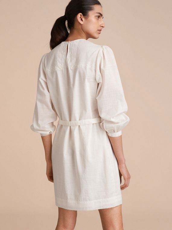 Pintuck and Lace Detail Cotton Dress in Natural White - Women | Burberry - cell image 2