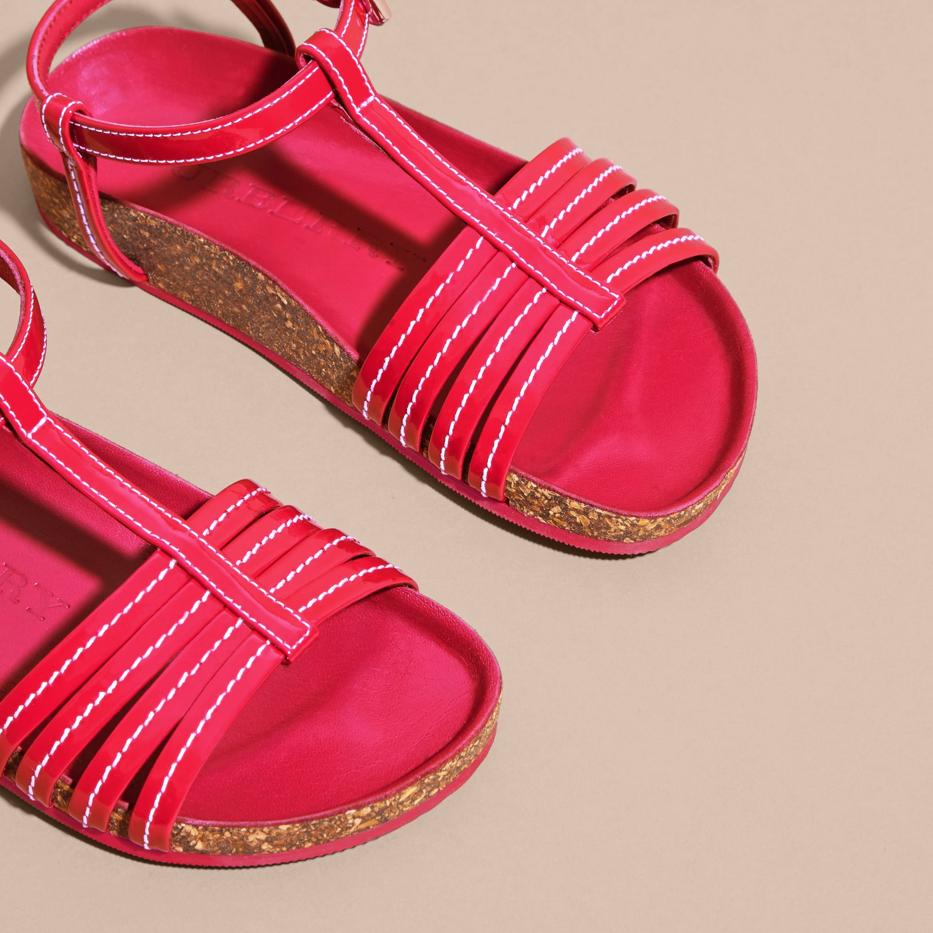 Cork Detail Patent Leather Sandals in Berry Pink | Burberry - gallery image 3