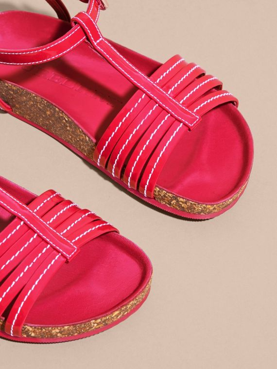 Cork Detail Patent Leather Sandals - Girl | Burberry - cell image 2