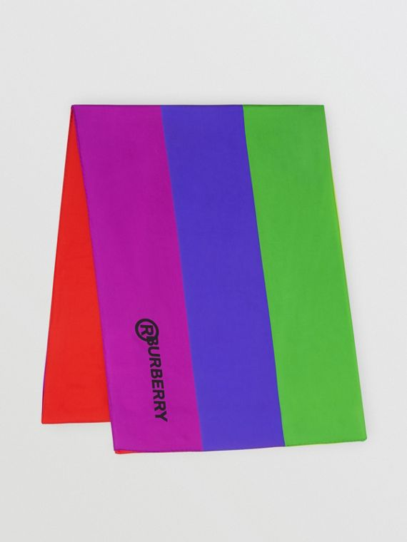 Logo Print Rainbow Silk Scarf in Multicolour