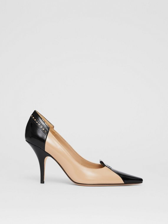Brogue Detail Two-tone Leather Pumps in Nude Blush/black