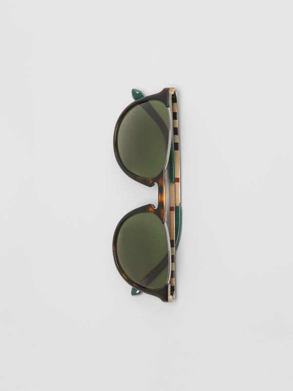 Keyhole Pilot Round Frame Sunglasses in Tortoise Shell - Men | Burberry - cell image 3