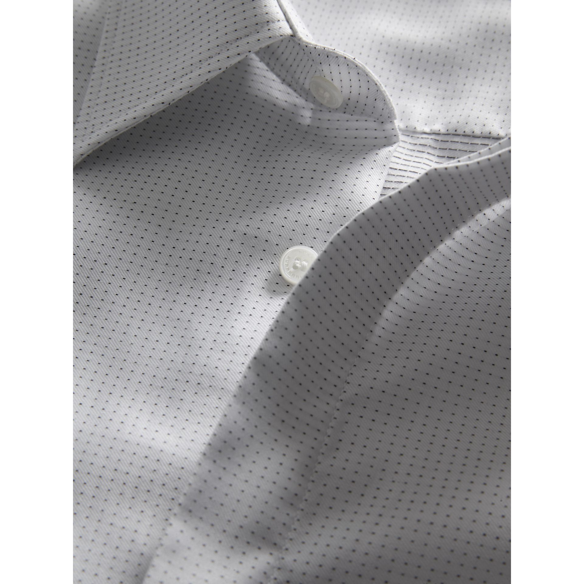 Modern Fit Pin Dot Dobby Cotton Shirt in White - Men | Burberry - gallery image 1