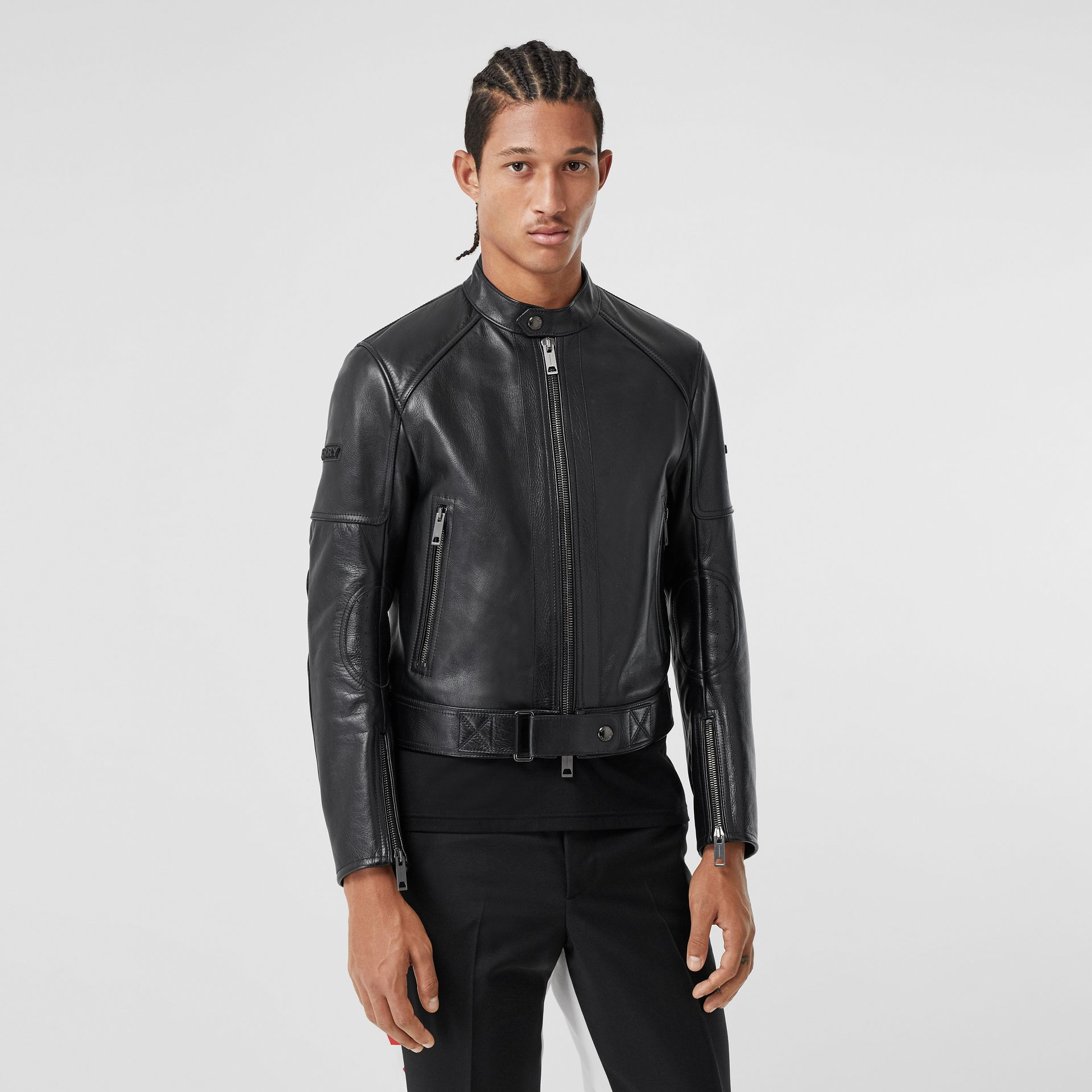 Leather Bomber Jacket in Black - Men | Burberry - gallery image 6