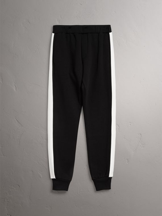 Bold Stripe Detail Cotton Blend Sweatpants in Black - Men | Burberry - cell image 3