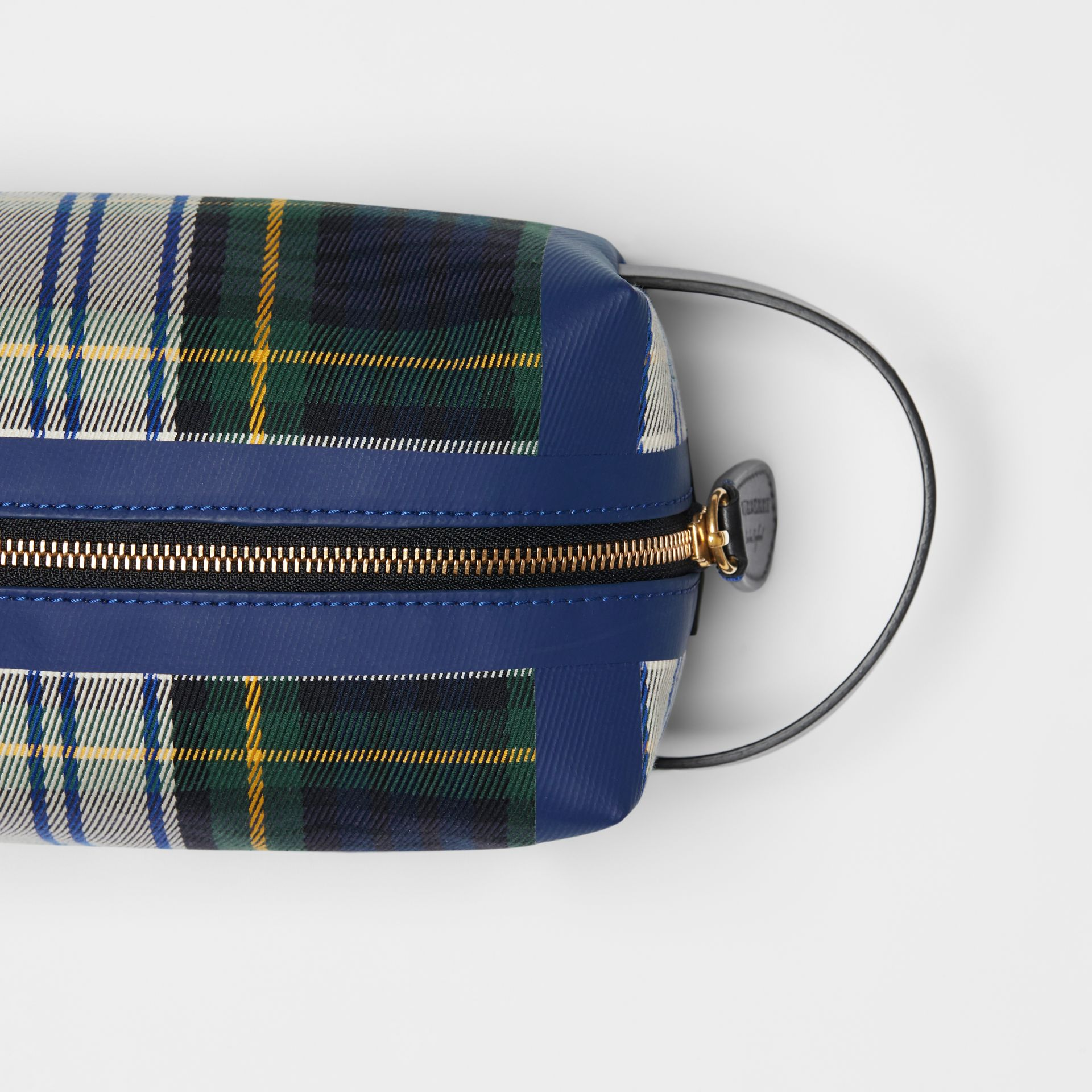 Tartan Cotton Pouch in Limestone | Burberry - gallery image 1