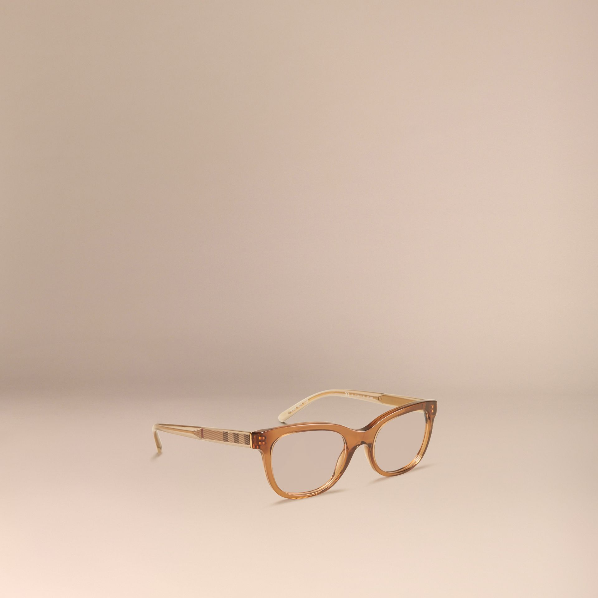 Taupe brown Check Detail Oval Optical Frames Taupe Brown - gallery image 1