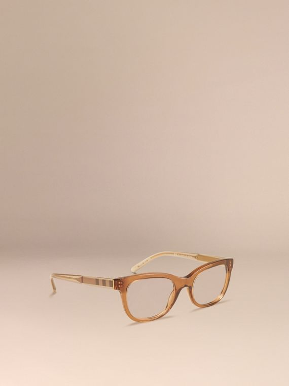 Check Detail Oval Optical Frames Taupe Brown