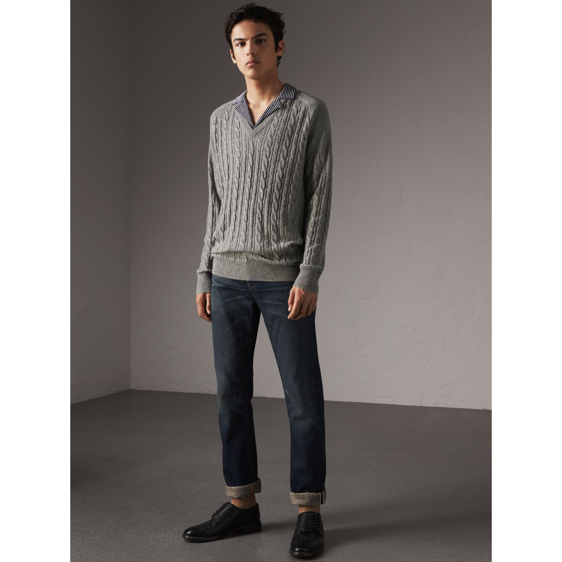 Cable and Rib Knit Cashmere V-neck Sweater in Mid Grey Melange - Men | Burberry - gallery image 1