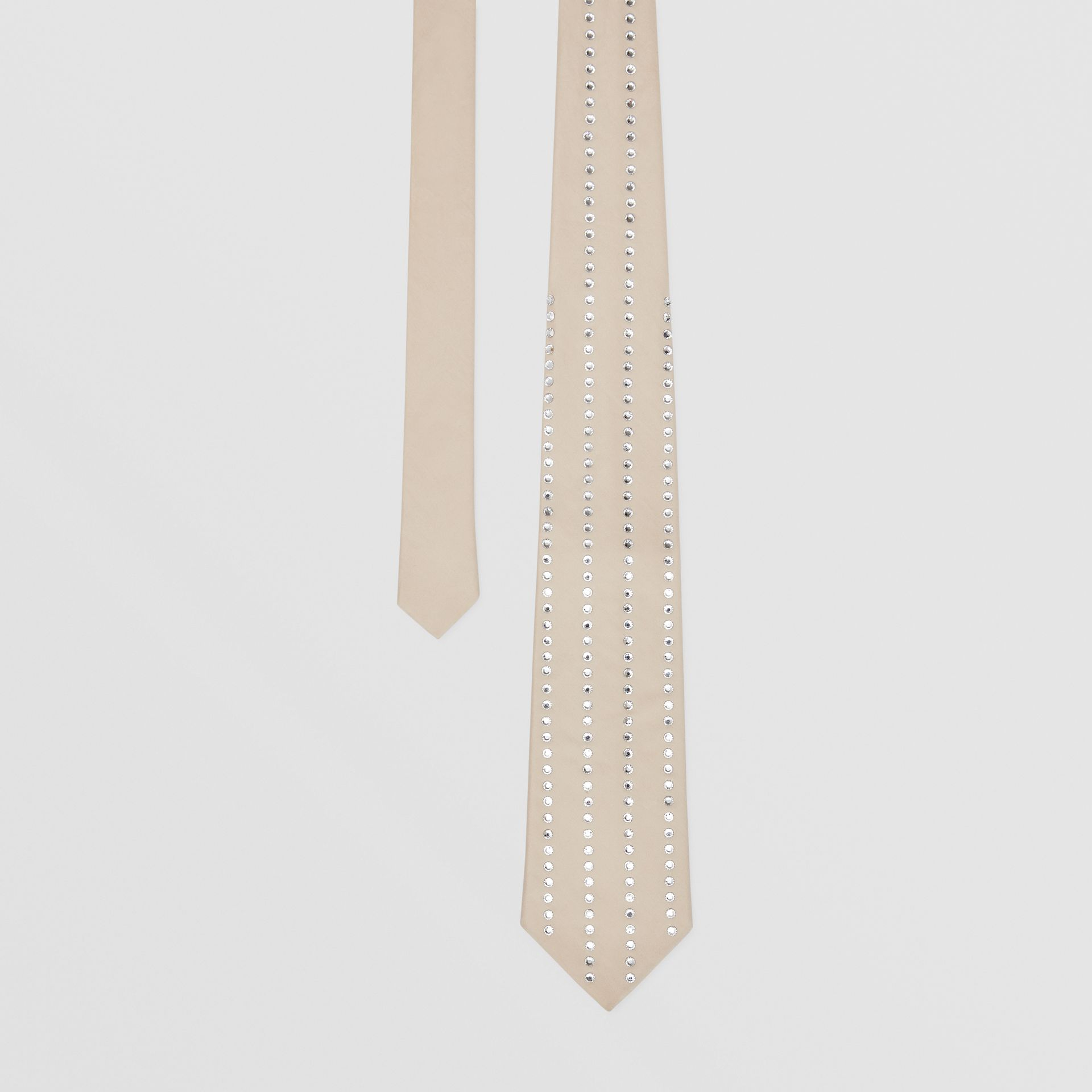 Classic Cut Crystal Pinstriped Silk Tie in Sesame | Burberry Australia - gallery image 0