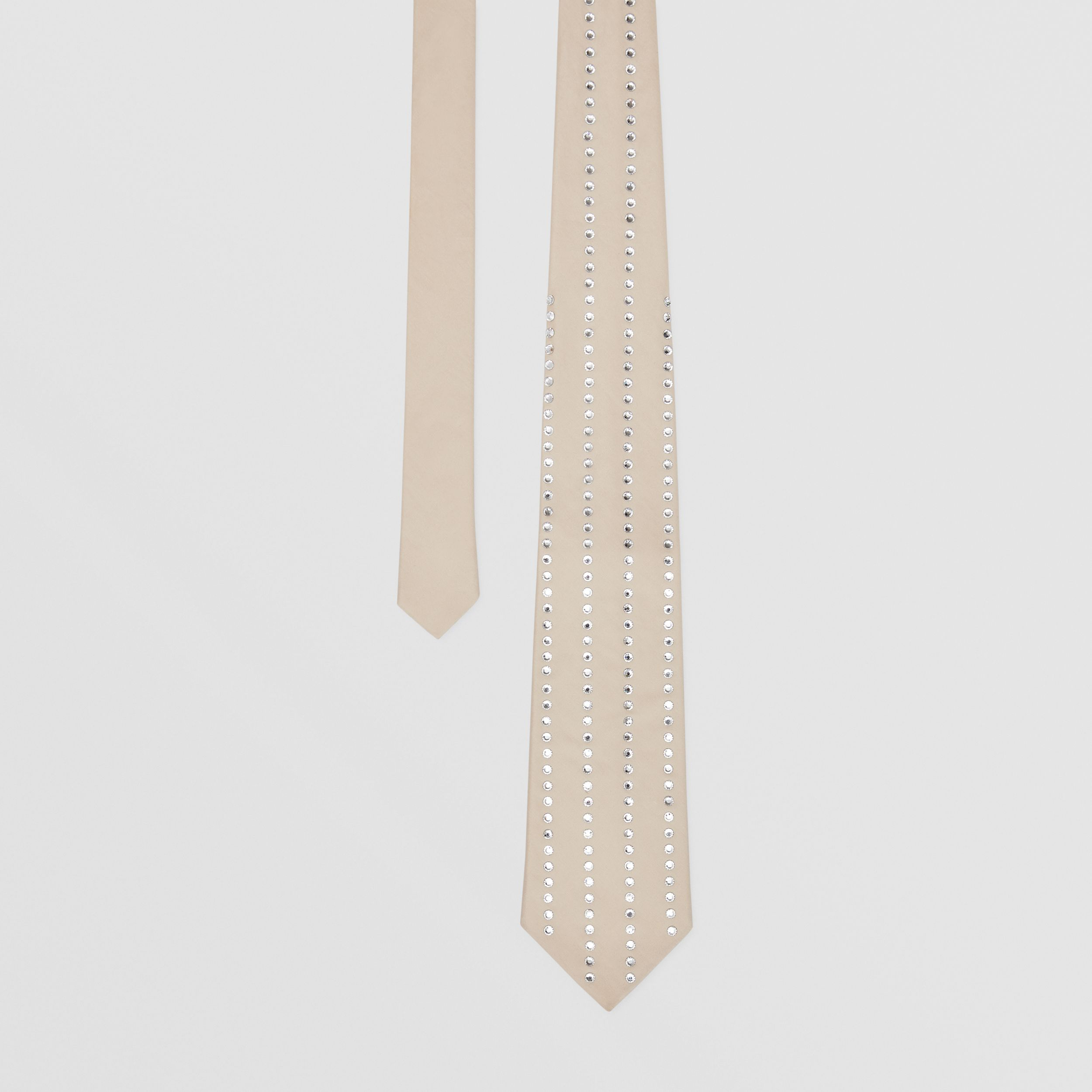 Classic Cut Crystal Pinstriped Silk Tie in Sesame | Burberry - 1