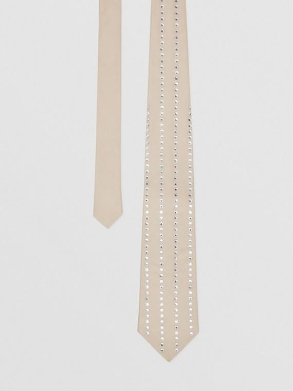 Classic Cut Crystal Pinstriped Silk Tie in Sesame