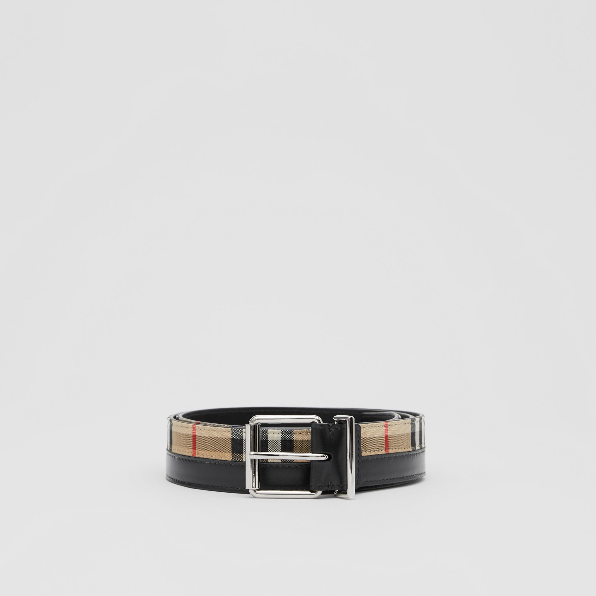 Logo Print Vintage Check and Leather Belt in Archive Beige/black - Men | Burberry Hong Kong S.A.R - gallery image 3