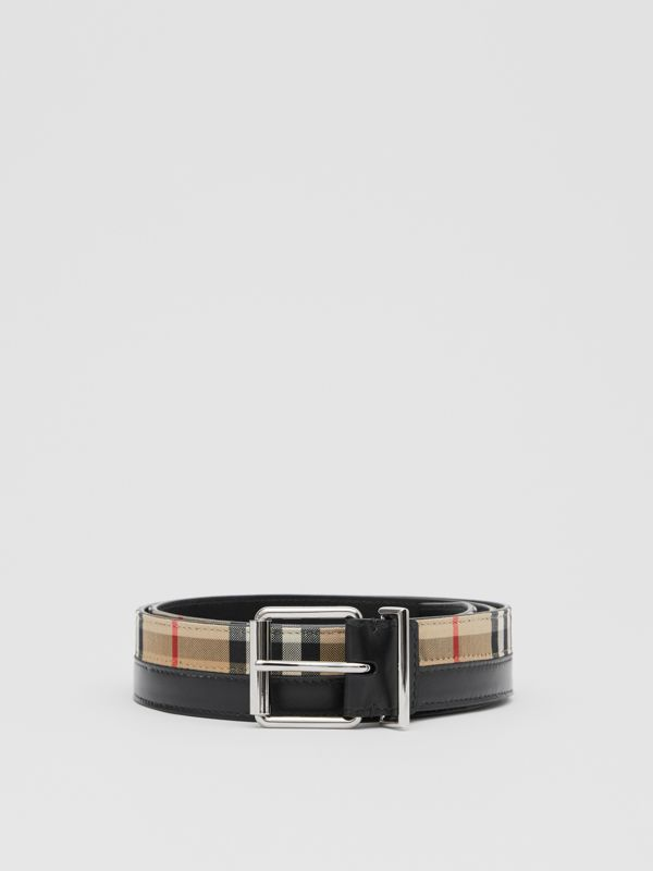 Logo Print Vintage Check and Leather Belt in Archive Beige/black - Men | Burberry Hong Kong S.A.R - cell image 3